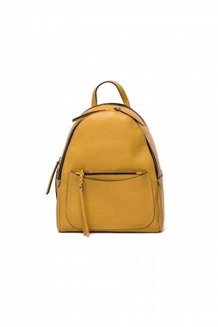 Сумка-рюкзак женская желтого цвета кожаная большая Gianni Chiarini