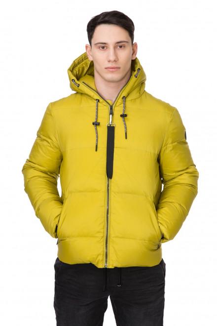 Куртка мужская объемная желтая короткая с капюшоном Reset