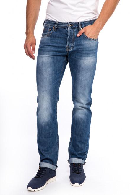 Джинсы мужские с искусственными потертостями синие Staff Jeans