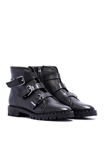 Ботинки женские на низком ходу с пряжками черные кожаные The Seller