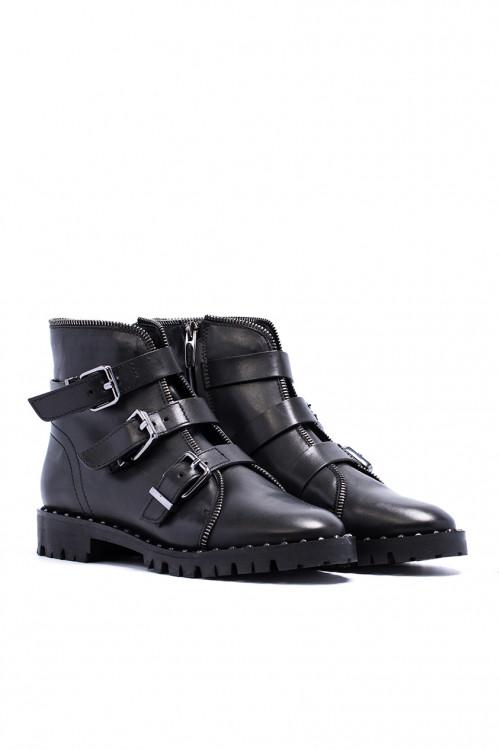 Ботинки женские с пряжками черные  The Seller