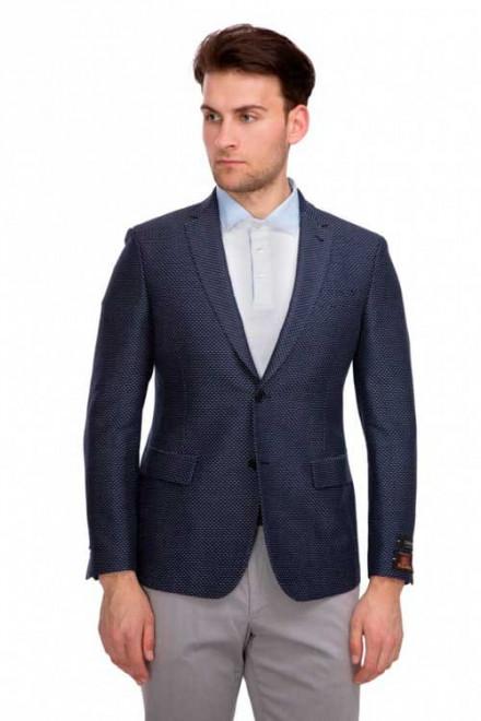 Пиджак мужской однобортный темно-синий в мелкий принт Cadini