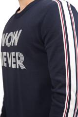 """Пуловер мужской (свитшот) темно-синий с надписью """"Now never"""" Antony Morato"""