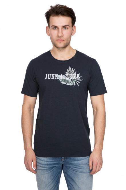 Футболка мужская с круглым вырезом и логотипом бренда черная Junk de Luxe