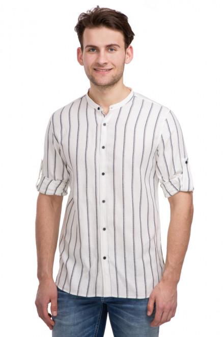 Рубашка мужская белая в полоску с подвернутыми рукавами Antony Morato