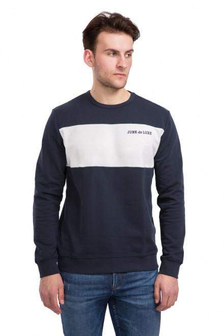 Пуловер мужской синий с белой полосой и надписью Junk de Luxe