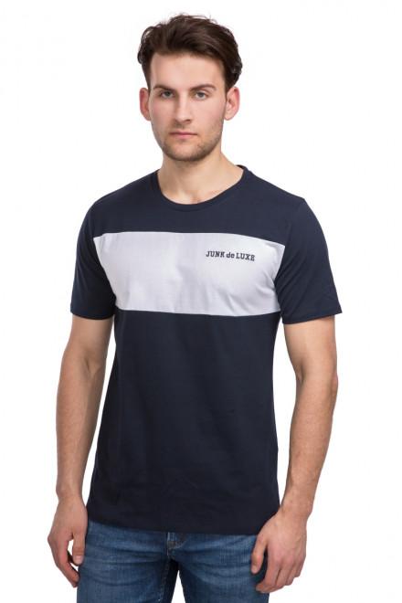 Футболка мужская колор блок черная с логотипом бренда Junk de Luxe