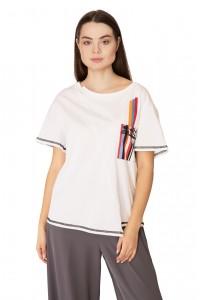 Футболка женская белого цвета с цветным карманом Sfizio