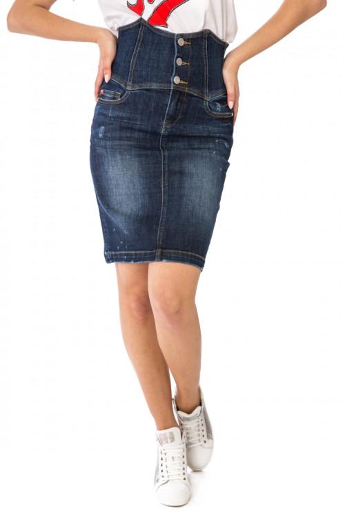 Юбка-карандаш женская джинсовая темно-синяя Miss Sixty