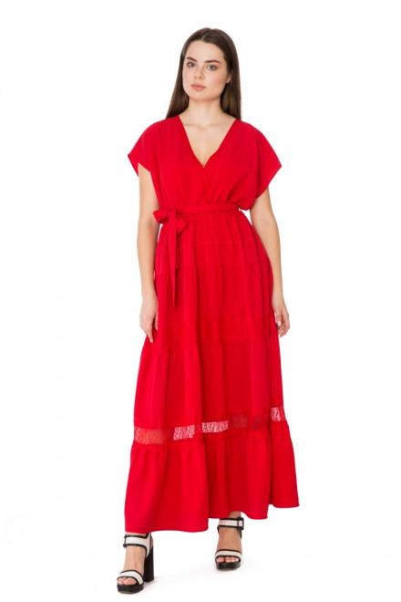 Платье макси на запах цвет фиеста Le Coeur