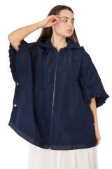 Куртка женская oversize темно-синяя с капюшоном Le Coeur