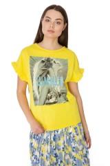 Футболка женская свободная с фотопринтом цвета золотая осина Rich & Royal