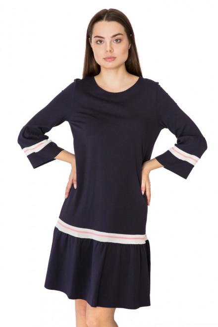 Платье свободное темно-фиолетовое с оборкой по краю Rich & Royal