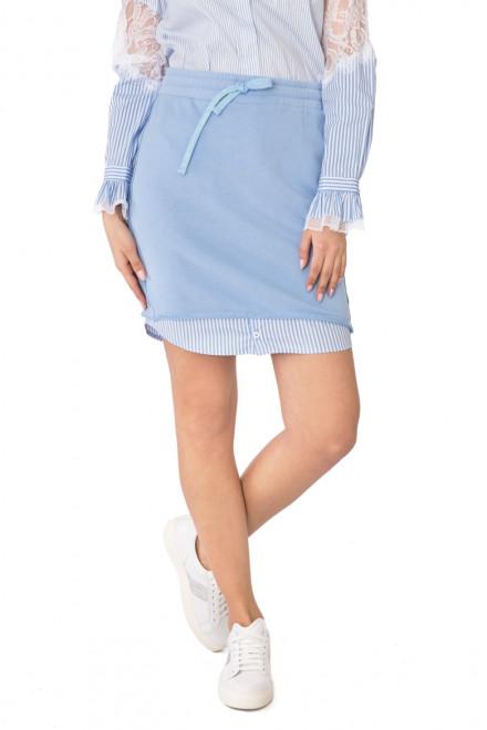 Юбка трикотажная  с тканевой вставкой голубого цвета Rich & Royal