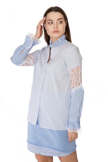 Блуза женская белая в полоску с длинным рукавом и кружевом Rich & Royal