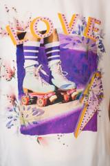 Футболка женская свободная белого цвета с принтом Rich & Royal