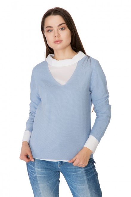 Пуловер женский свободный голубого цвета Rich & Royal