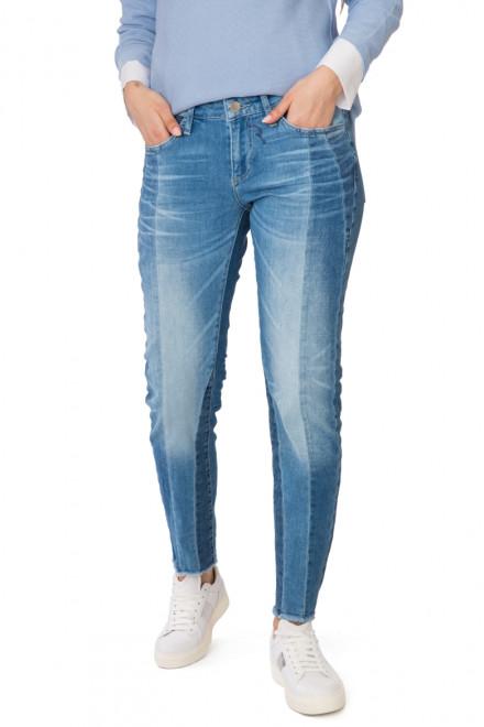 Джинсы женские голубые с потертостями и заломами Rich & Royal