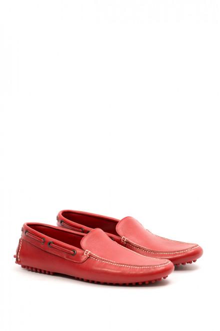 Туфли мужские (мокасины) красные кожаные Gerardo Fossati
