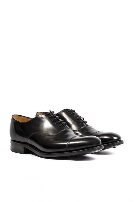 Туфли мужские (оксфорды) из гладкой полированной кожи черного цвета Barker