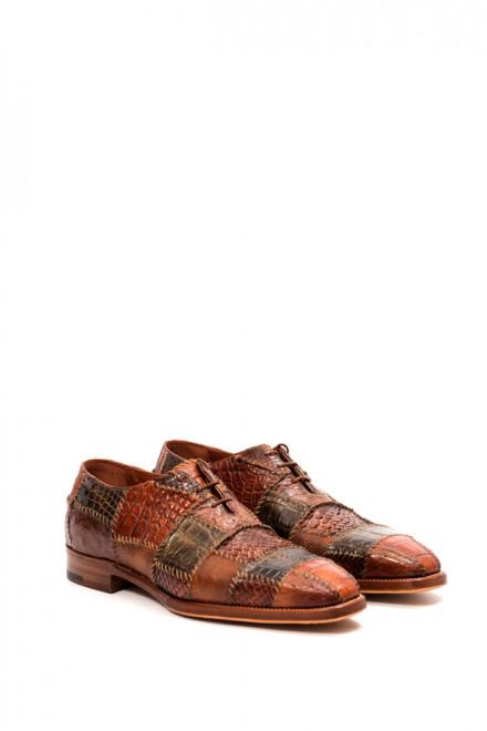 Туфли мужские оксфорды коричневые фактурная кожа Voltaire Gerardo Fossati