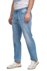 Штаны мужские светло-голубые широкого кроя на шнурке Pal Zileri