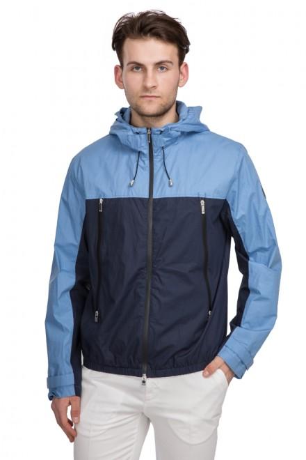 Куртка мужская (ветровка) темно-синяя колор блок на молнии и с капюшоном Harmont & Blaine