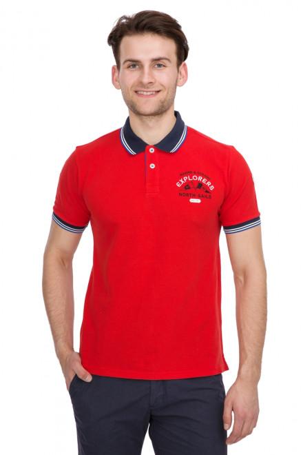 Футболка-поло мужская красного цвета с логотипом North Sails