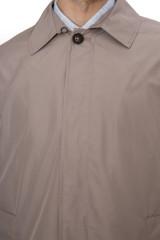 Плащ мужской однобортный светло-серый свободного кроя Pal Zileri