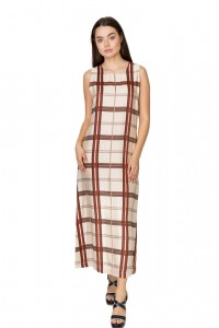 Платье-сарафан женское нежный беж в клетку Liviana Conti