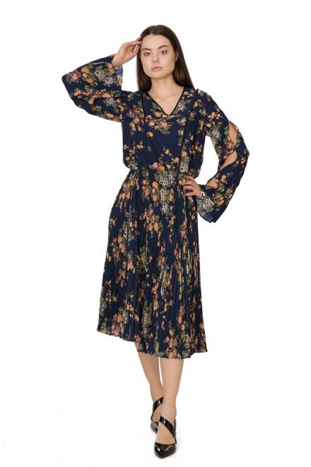 Платье миди с плиссированной юбкой и длинными рукавами Steffen Schraut