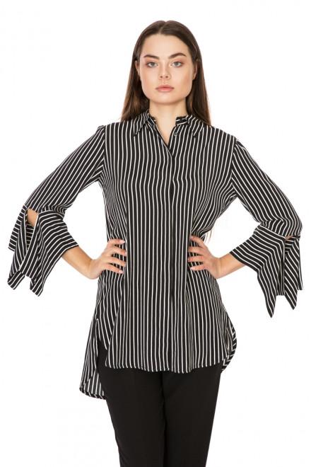 Блуза женская с рукавами на завязках черная в белую полоску Beatrice