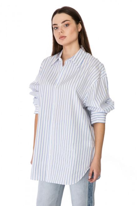 Рубашка женская oversize белая в синюю полоску Miss Sixty