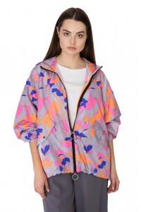 Куртка женская с капюшоном светло-серая с цветочным принтом Sfizio