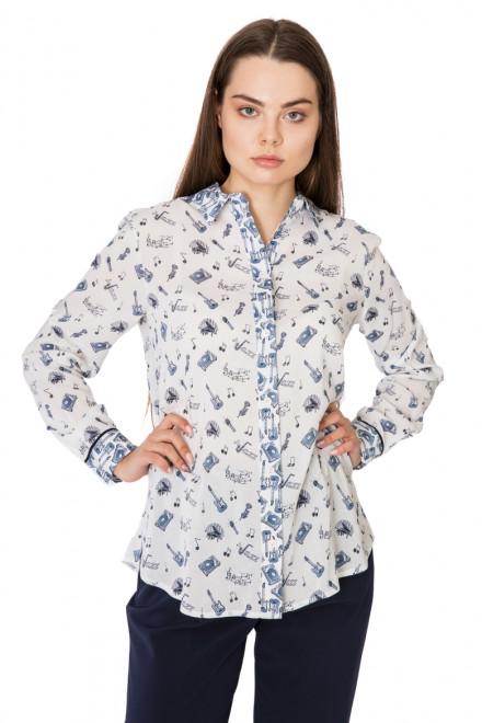 Блуза женская с длинным рукавом белая в мелкий принт Riani