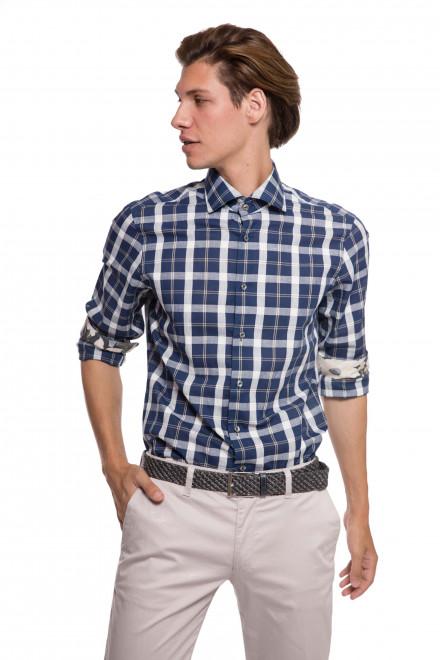 Рубашка мужская белая в синюю клетку van Laack