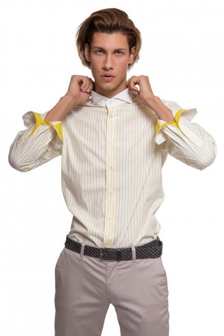 Рубашка мужская белого цвета в желтую полоску с длинным рукавом van Laack