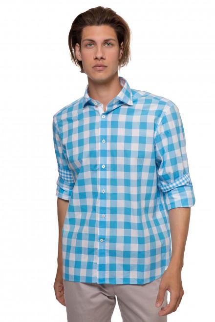 Рубашка мужская белого цвета в синюю клетку van Laack