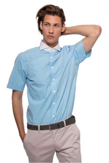 Мужская рубашка голубого цвета с контрастным воротником и с короткими рукавами van Laack