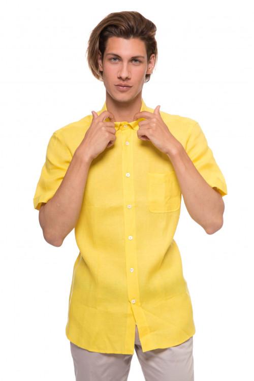 Рубашка мужская с коротким рукавом желтого цвета van Laack