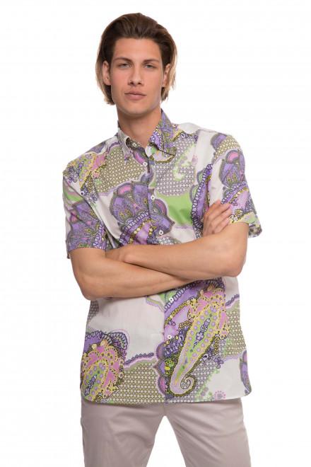 Рубашка мужская летняя с восточным принтом и коротким рукавом van Laack