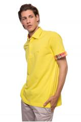 Футболка-поло мужская желтого цвета с клетчатыми манжетами van Laack