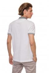 Футболка-поло белого цвета с серыми вставками van Laack