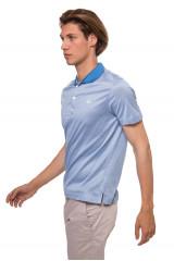 Футболка-поло голубого цвета с контрастным воротником van Laack