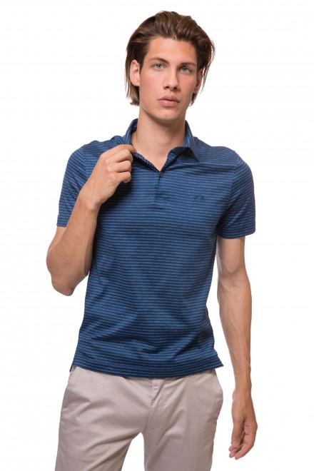 Футболка-поло мужская темно-синяя в тонкую полоску van Laack