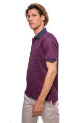 Футболка-поло синего цвета в красную полоску van Laack