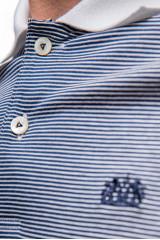 Футболка-поло серого цвета в мелкую полоску с белым воротником van Laack
