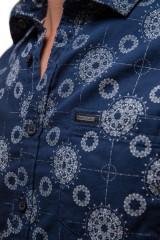 Рубашка мужская летняя с коротким рукавом синего цвета в геометрический принт  Lindbergh