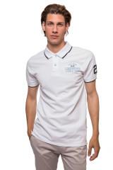Футболка-поло мужская белого цвета с символикой бренда Lindbergh