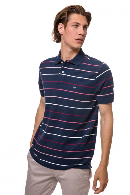 Футболка-поло мужская синяя в полоску и с символикой бренда Fynch Hatton